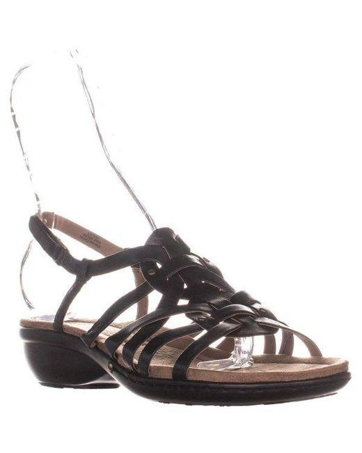 2d67f227a5e8 Easy Spirit Vitaro Front Strappy Wedge Sandals in Black - Lyst