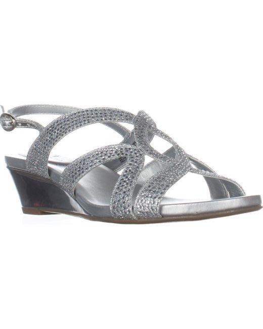 Bandolino Metallic Gomeisa Slingback Wedge Sandals, Silver