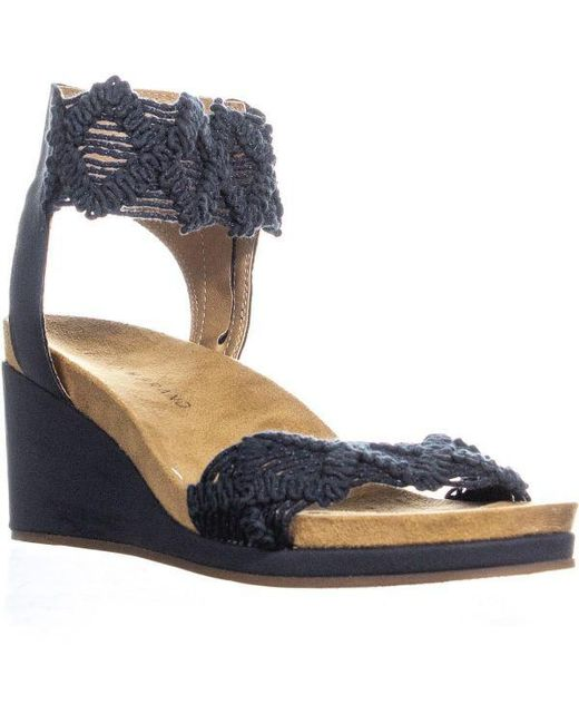 b0e80957dd5 Lyst - Lucky Brand Kierlo Ankle Strap Wedge Sandals in Blue - Save ...