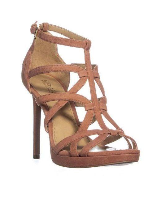 5cf2b043a366 Michael Kors - Brown Sandra Platform Strappy Stiletto Sandals - Lyst ...