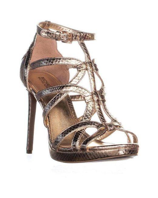 7c79e584c48f Michael Kors Sandra Platform Strappy Stiletto Sandals in Pink - Lyst