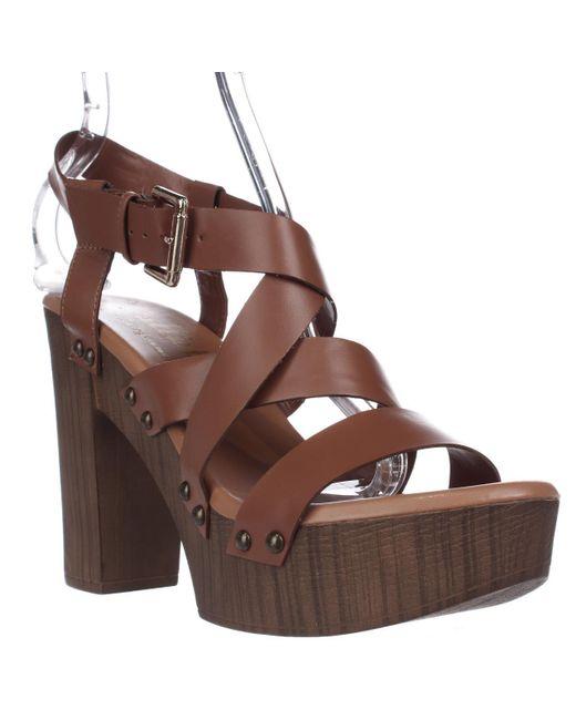 Callisto | Brown Westlye Strappy Clog Sandals - Cognac | Lyst