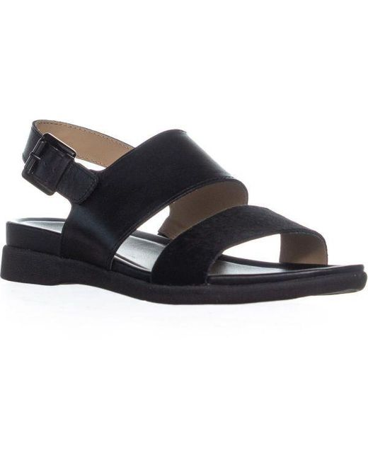 fa3cb93fd Lyst - Naturalizer Emory Buckle Flat Sandals in Black - Save 13%