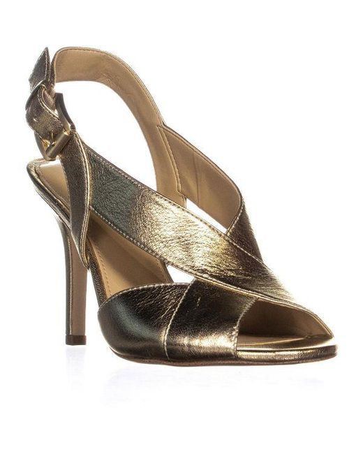 c21cfe395d5f Michael Kors - Metallic Michael Becky Cross Strap Dress Sandals - Lyst ...