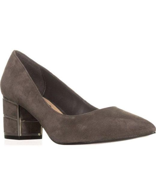 6a8fe7acf12 Steve Madden - Gray Buena Pointed Toe Block Heel Kitten Pumps - Lyst ...