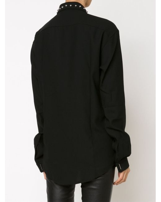 Anthony vaccarello studded collar shirt in black save 50 for Tony collar dress shirt