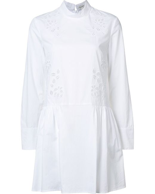 Suno | Black Macrame Insert Chambray Dress | Lyst