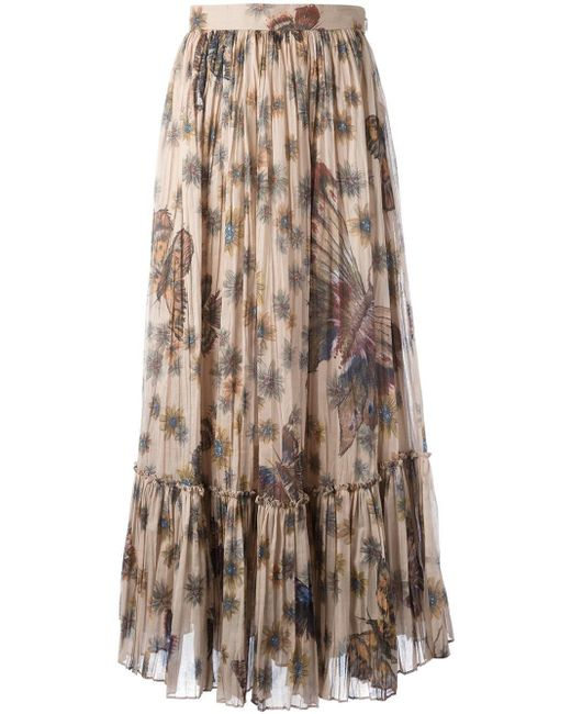 Valentino | Brown Printed Pleated Cotton Maxi Skirt | Lyst
