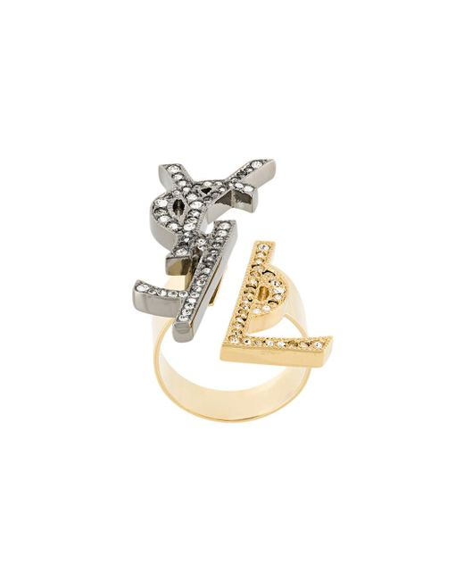 Saint Laurent | Metallic Ysl Monogram Deconstructed Ring | Lyst