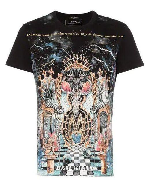 50779fe5 Balmain Dangerous Print Cotton T-shirt in Black for Men - Save 62 ...