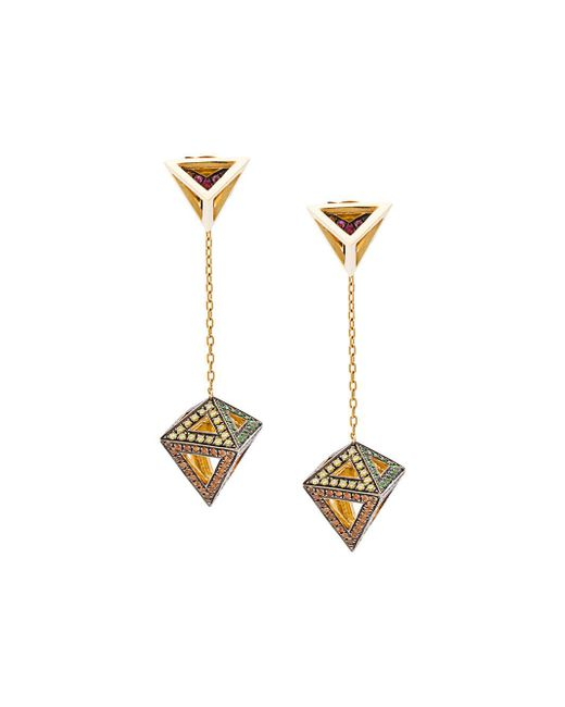 Noor Fares   Metallic Octahedron Earrings   Lyst