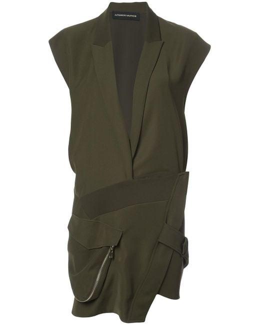 Alexandre Vauthier - Green Plunge Asymmetric Dress - Lyst
