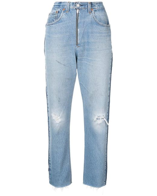 Re/done Blue High Rise Relaxed Crop Jeans