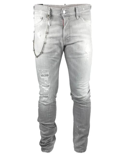 DSquared² - Gray Chained Stretch Denim for Men - Lyst