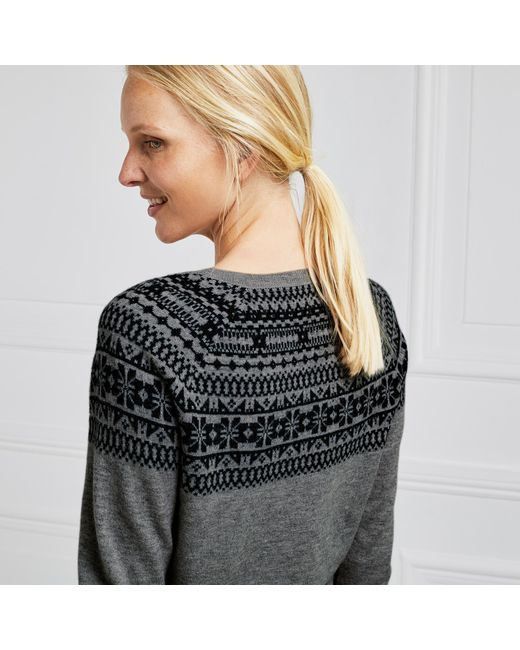 The white company Wool Crystal Fair Isle Sweater in Gray | Lyst