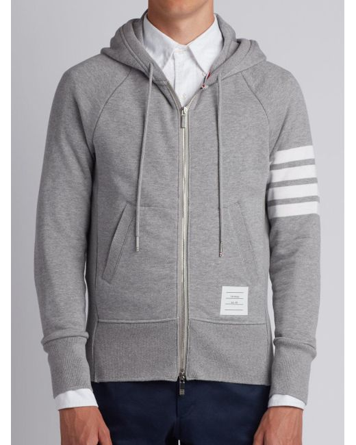 Thom Browne - Gray Zipped Hoodie for Men - Lyst