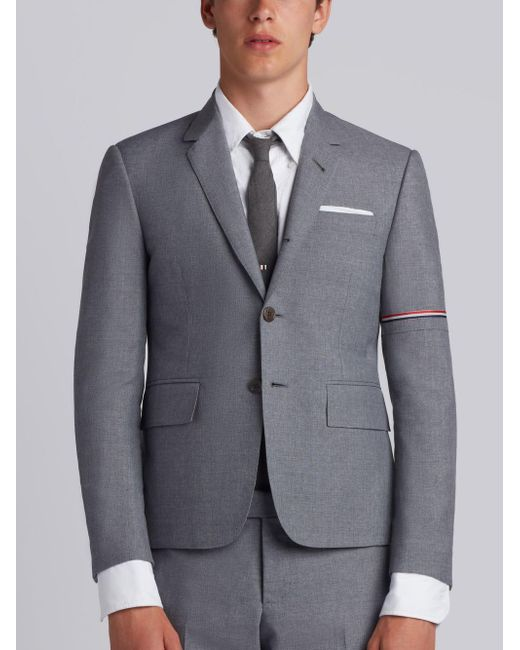 Thom Browne Gray High Armhole Single Breasted Sport Coat With Red, White And Blue Selvedge Arm Placement In School Uniform Plain Weave for men