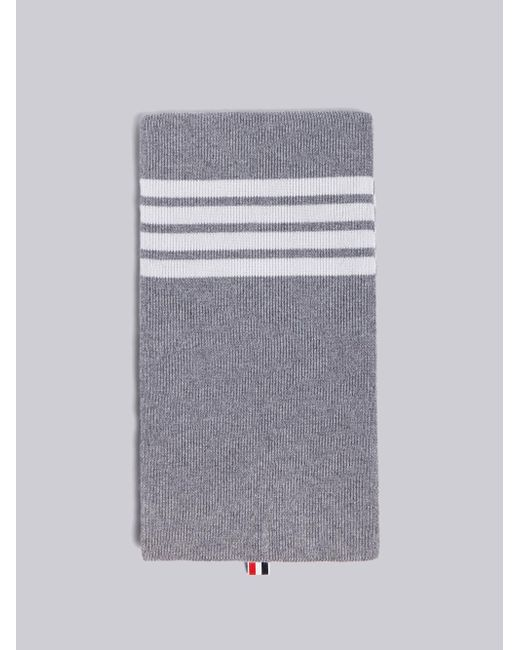 Thom Browne - Gray Ribbed Cashmere Scarf for Men - Lyst