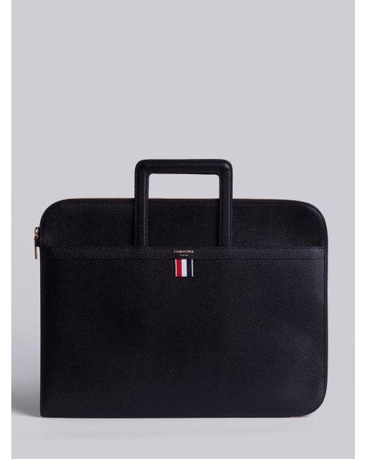 10ef8e75fa8d Thom Browne - Black Leather Handle Portfolio In Smooth Calf for Men - Lyst  ...