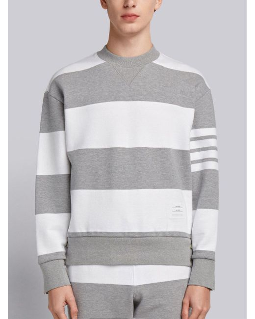 Engineered Rugby Stripe Drop-Shoulder Crewneck Jersey Sweatshirt - Grey Thom Browne Cheap Sale Shopping Online FMCQZih