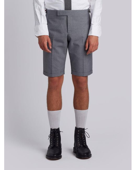 Low Rise Skinny Trouser With Red, White And Blue Selvedge Back Leg Placement In School Uniform Plain Weave - Grey Thom Browne