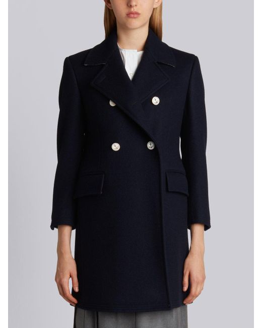 Thom Browne - Blue Double Breasted Chesterfield Overcoat In Navy Heavy Merino Melton - Lyst