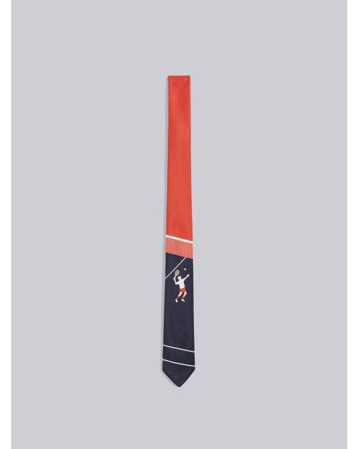Classic Necktie In Engineered Tennis Boy Printed Silk Tie Thom Browne bfVfGOE
