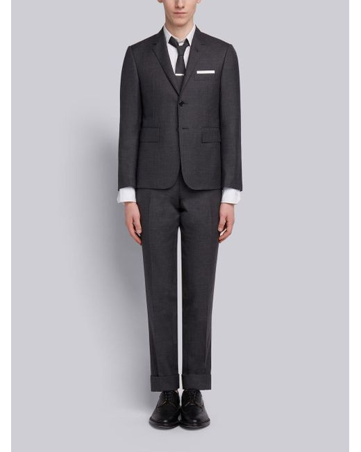 Thom Browne Gray Super 120s Twill Suit With Tie for men