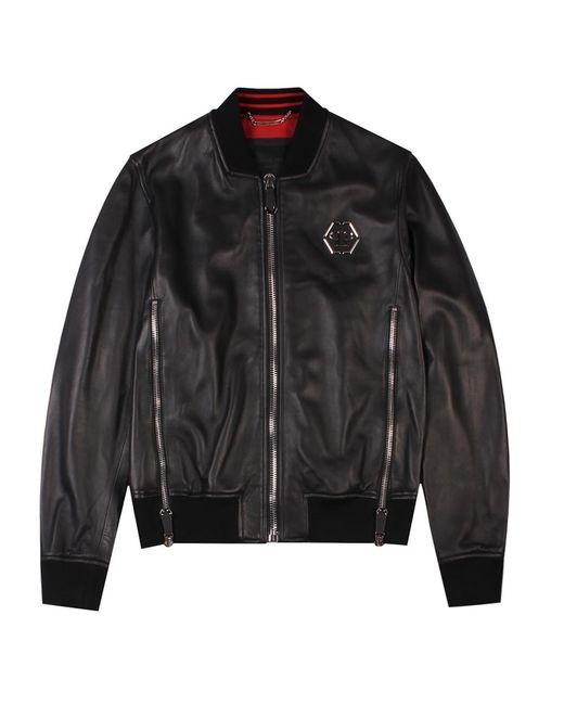 b412ee5247 Philipp Plein - Black Leather Jacket for Men - Lyst ...