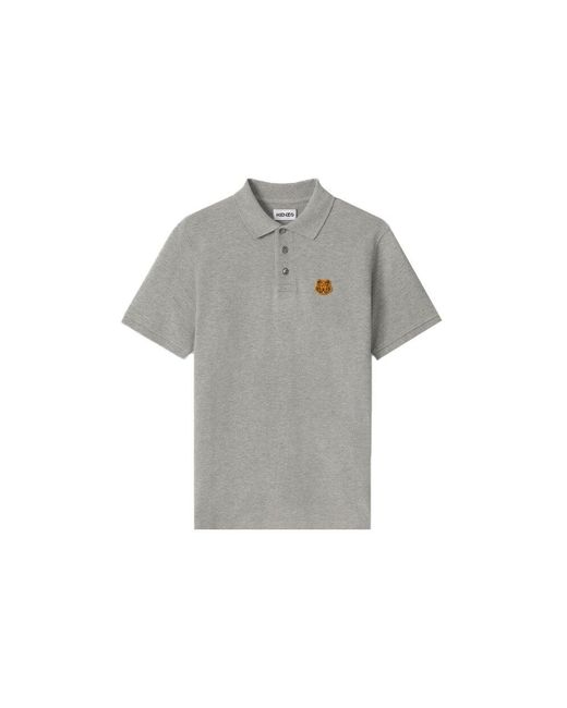 KENZO Gray Tiger Crest Polo for men