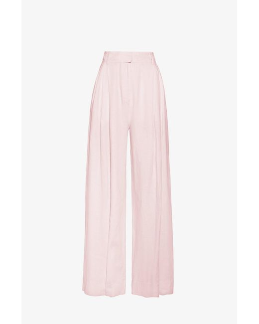 Three Graces London Molly Linen Wide Leg Trousers In Ice Pink