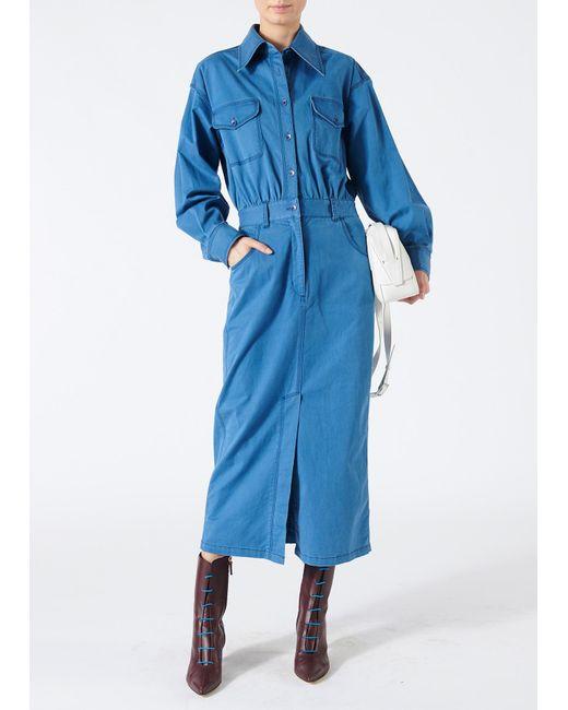 Tibi - Blue Washed Indigo Twill Dress - Lyst