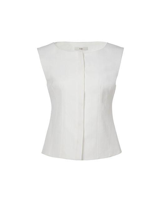 Tibi - White Drape Twill Sleeveless Corset Top - Lyst