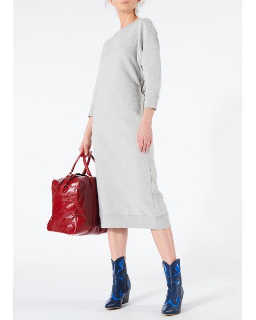 Tibi - Gray Open Back Sweatshirt Midi Dress - Lyst