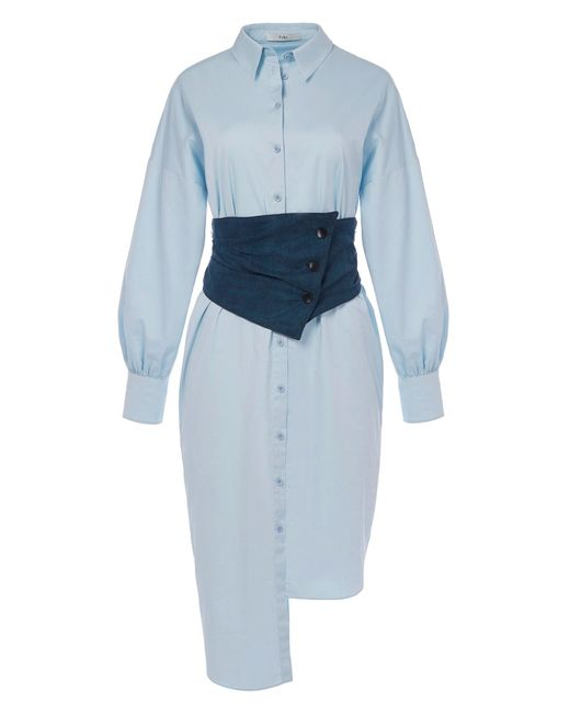 Tibi - Blue Satin Poplin Shirtdress With Removable Corset - Lyst