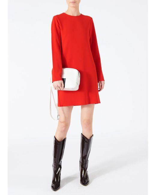 Tibi - Red Triacetate Shift Dress - Lyst