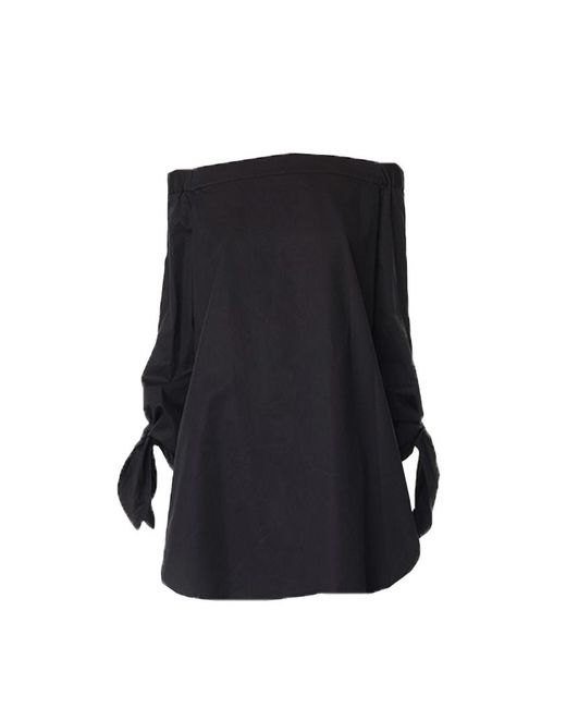 Tibi - Black Satin Poplin Off-the-shoulder Tunic - Lyst
