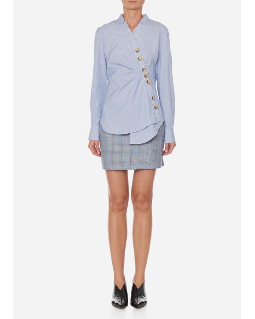 Tibi - Blue Jones Stripe Asymmetrical Shirt - Lyst