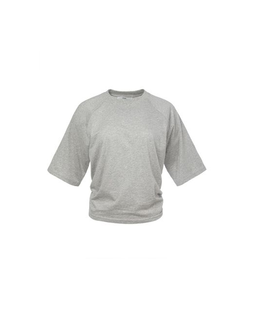 Tibi - Gray Shirred Back Cut Out Raglan Tee - Lyst