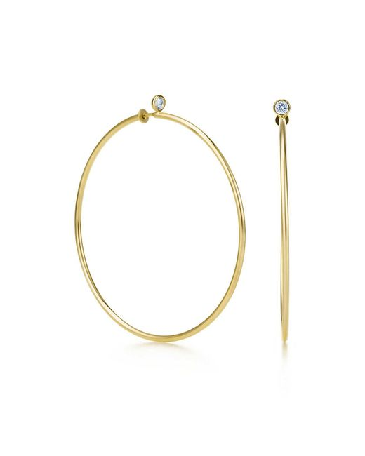 Tiffany & Co | Metallic Diamond Hoop Earrings | Lyst