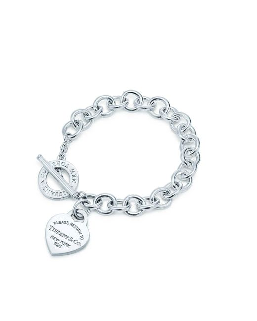 Tiffany & Co Metallic Heart Tag Toggle Sterling Silver Small Bracelet