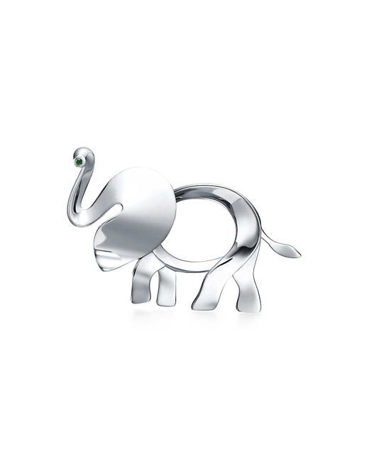 Tiffany & Co   Metallic Tiffany Save The Wild Elephant Brooch In Silver With A Tsavorite, Large   Lyst