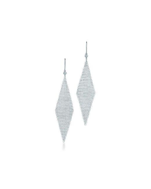 Tiffany & Co - Metallic Mesh Earrings - Lyst