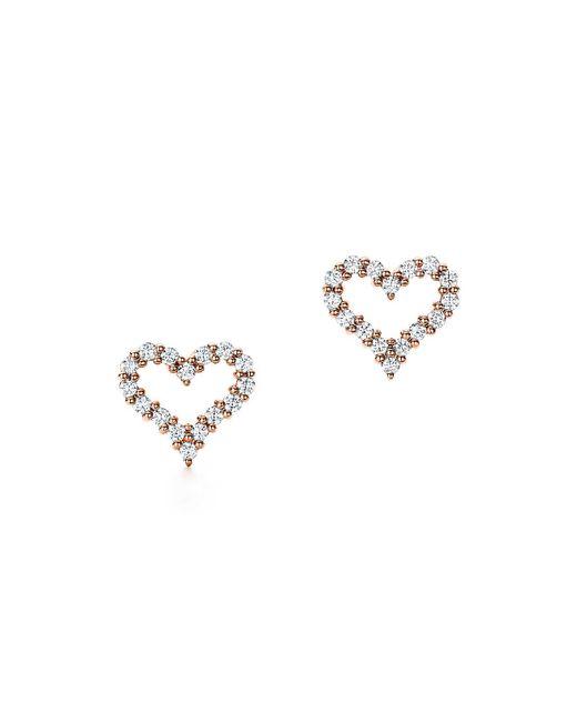 Tiffany & Co - Metallic Heart Earrings In 18k Rose Gold With Diamonds, Extra Mini - Lyst