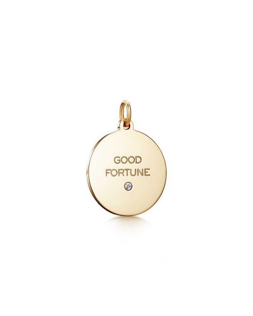 "Tiffany & Co | Metallic Tiffany Charms ""good Fortune"" Tag In 18k Gold With A Diamond, Medium | Lyst"