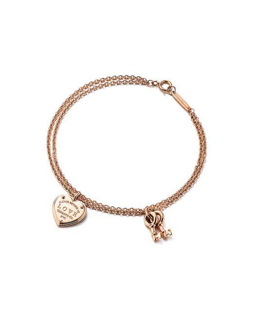 ceb91367348 Tiffany & Co. Love Heart Tag Key Bracelet in Metallic - Lyst