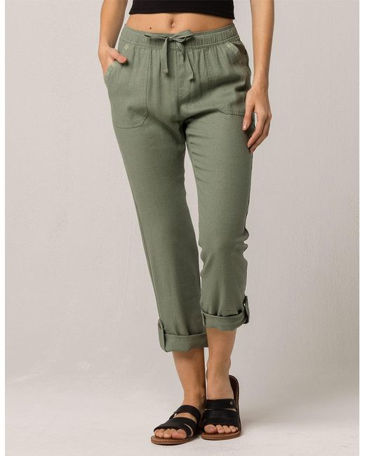Green Symphony Lover Womens Linen Pants by Roxy