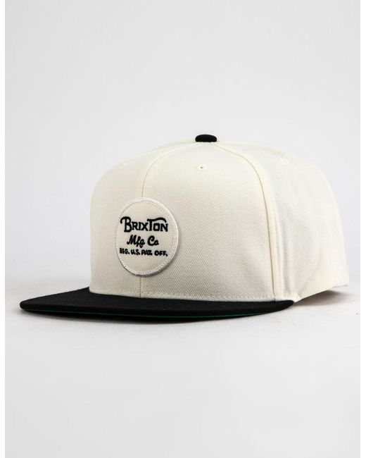 dff47566d46 Lyst - Brixton Wheeler Black   White Mens Strapback Hat in White for Men