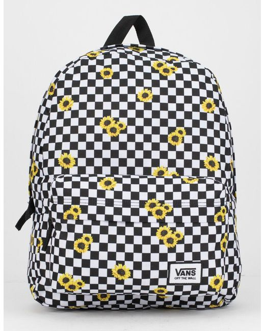 Vans Black Realm Sunflower Checkerboard Backpack