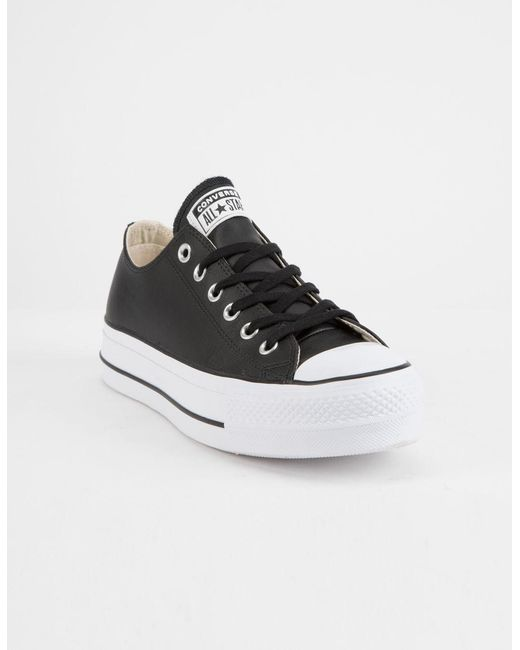 bcfbf301e407 ... Converse - Black Chuck Taylor All Star Lift Faux Leather Womens Low Top  Shoes - Lyst ...